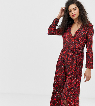 Vero Moda Tall wrap midi dress-Navy