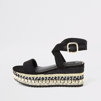 River Island Black studded wedge flatform sandals