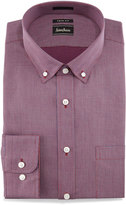 Neiman Marcus Trim-Fit Micro-Check Dress Shirt, Red
