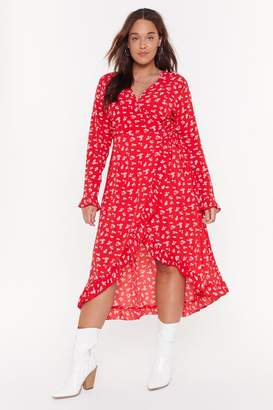 Nasty Gal Womens Wrap Midaxi Floral Tea Dress - Red - 16, Red