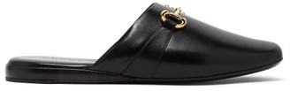 Gucci Pericles Leather Slippers - Black