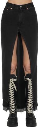 MM6 MAISON MARGIELA Cotton Denim & Satin Midi Skirt