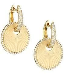 Nina Gilin 14K Yellow Gold & Diamond Disc Huggie Hoop Earrings