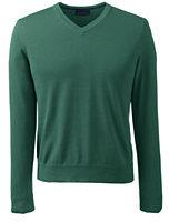 Classic Men's Fit Fine Gauge Supima Cotton V-neck Sweater-Dark Camel Heather