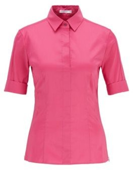 HUGO BOSS Slim Fit Cotton Blend Blouse With Mock Placket - Pink