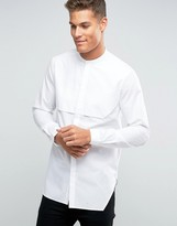 Asos Regular Fit Longline Shirt With Paneled Front In White