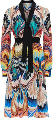 Mary Katrantzou Florence Tie-neck Printed Silk Crepe De Chine Dress