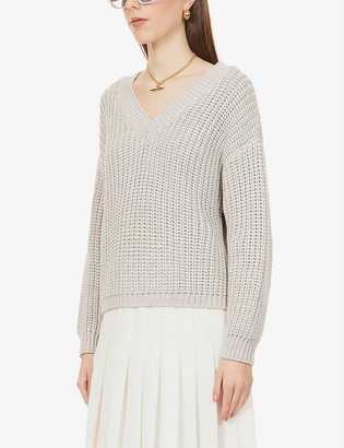 Brunello Cucinelli Chunky V-Neck Cotton-Knit Jumper