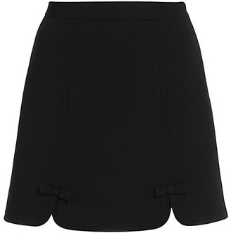 Miu Miu Faille Cady Stretch-Wool Bow Mini Skirt