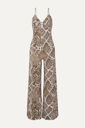 Norma Kamali Snake-print Stretch-jersey Jumpsuit - Gray