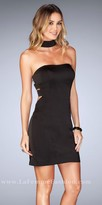 La Femme Strapless Jersey Choker Cut Out Back Cocktail Dress