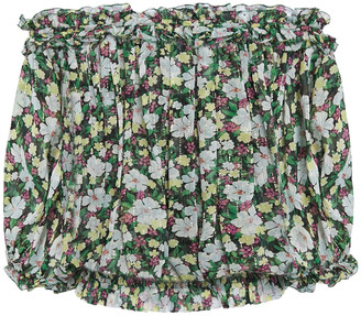 Maje Off-the-shoulder Floral-print Silk-blend Georgette Top