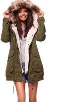 YACUN Women's Casual Warm Parkas with Faux Fur Hood 4XL