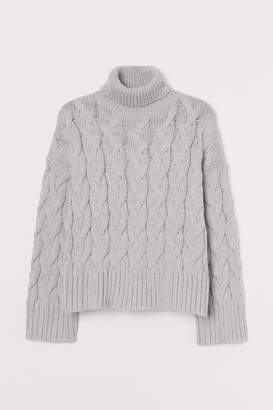 H&M Cable-knit Turtleneck Sweater - Gray