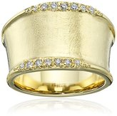 Jardin Italian Brushed Gold Cigar Band Ring, Size 7, 1 CTTW