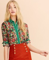 Brooks Brothers Floral-Print Crepe Blouse