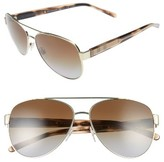Burberry Women's 60Mm Polarized Aviator Sunglasses - Pale Gold