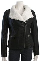 Jessica Simpson Women's Faux Leather Moto Jacket with Shearling Collar