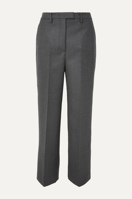 Prada Checked Virgin Wool-blend Straight-leg Pants - Gray