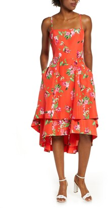 Vince Camuto Floral Tiered High/Low Midi Sun Dress
