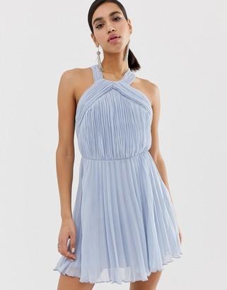 Asos Design DESIGN pleated bodice halter mini dress-Multi