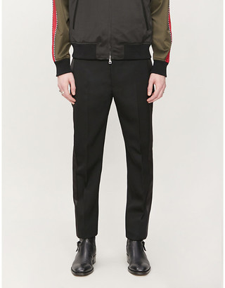 Alexander McQueen Tapered tuxedo wool and silk trousers