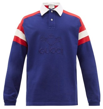 Gucci Tennis-logo Long-sleeved Cotton Polo Shirt - Navy