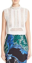 Yigal Azrouel Women's Lace Trim Silk Crepe Georgette Top