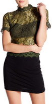 Romeo & Juliet Couture Short Sleeve Sheer Lace Shirt