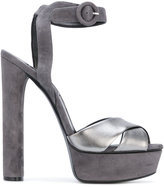 Casadei two-tone platform sandals - women - Chamois Leather/Leather/Nappa Leather/Kid Leather - 37