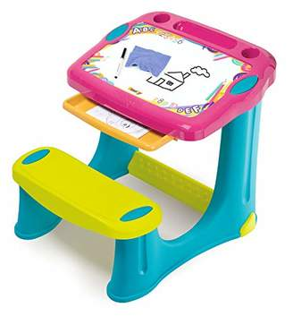 Smoby 420219 Children's Desk Magic Pink with Built-in Bench and Drawer Plastic for Children from 2 Years Old Pink
