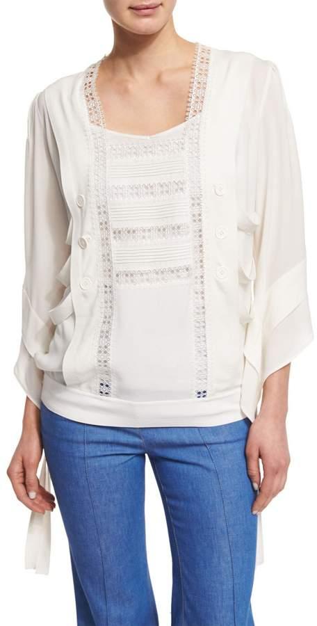 Derek Lam Lace-Trim Kimono-Style Tunic, White