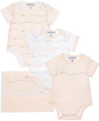Emporio Armani Set Of 3 Cotton Jersey Bodysuits