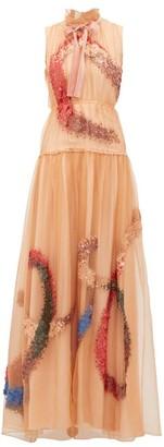 Roksanda Giona Sequinned Silk-organza Gown - Beige