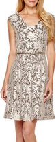Tiana B Cap-Sleeve Lace Fit-and-Flare Dress