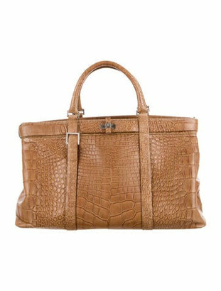 Loewe Alligator Top Handle Bag Tan