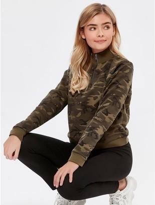 M&Co Teen zip neck camo sweatshirt