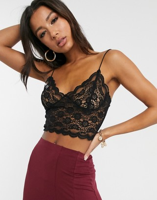 Asos Design DESIGN all over lace bralette-No Colour