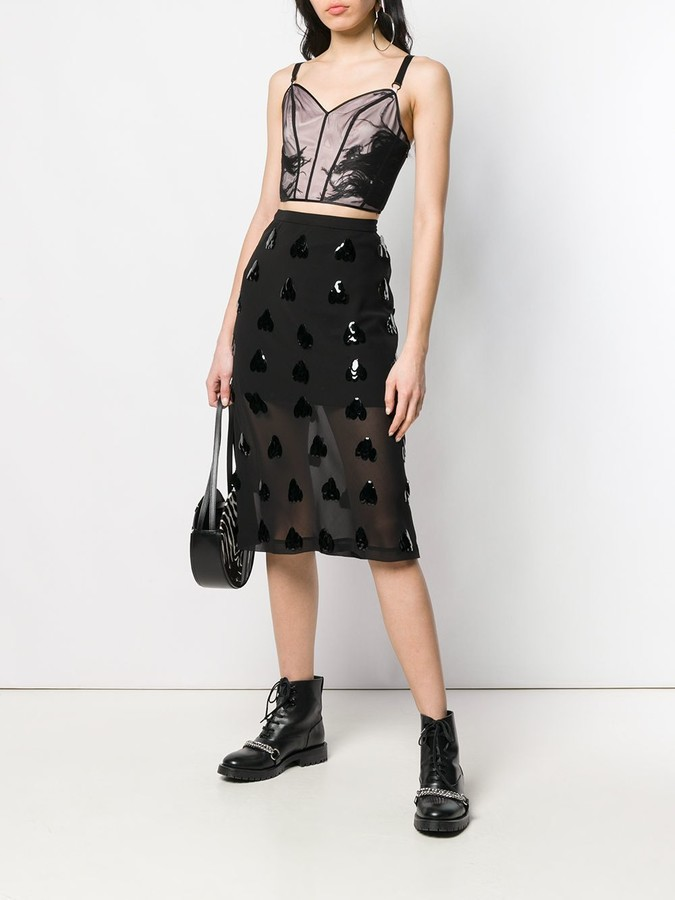 Thumbnail for your product : McQ Swallow Feather Embellished Mesh Top