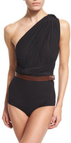 Michael Kors One-Shoulder Wrap One-Piece Swimsuit with Belt