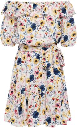 By Ti Mo Bytimo Off-the-shoulder Gathered Floral-print Crepe Mini Dress