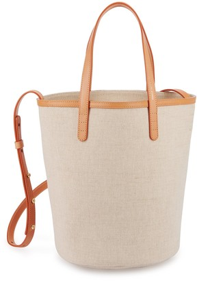 Mansur Gavriel Canvas Mini Circle Bucket Bag - Beige
