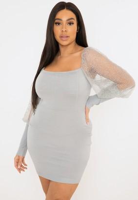 Missguided Plus Size Grey Glitter Knit Mini Dress