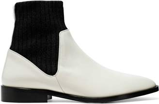 Vince Perlow Ribbed Knit And Patent-leather Ankle Boots