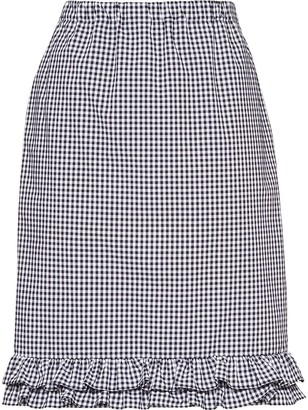 Miu Miu Frill-Trim Gingham Pencil Skirt