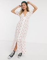 Asos Design DESIGN maxi tea dress with hook and eye detail in ditsy floral print