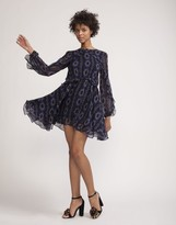 Cynthia Rowley Silk Tiered Long Sleeve Ruffle Dress