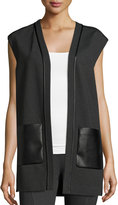 Lafayette 148 New York Open-Front Faux-Leather Combo Vest, Black