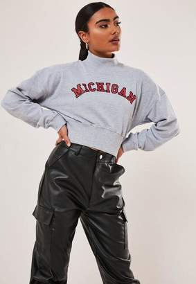 Missguided Gray Michigan Graphic High Neck Crop Sweatshirt