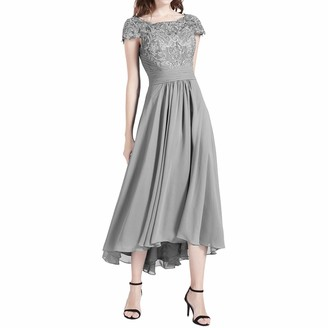 MACloth High Low Mother of The Bride Dresses Cap Sleeves Cocktail Formal Gown (18